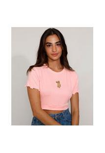 Camiseta Feminina Manga Curta Cropped Com Bordado Simba O Rei Leão Decote Redondo Rosa Claro