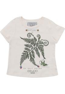 Camiseta Colcci Kids Menina Frontal Off-White
