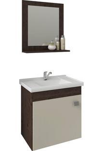 Conjunto Para Banheiro Com 1 Porta E Cuba Iris-Mgm - Cafe / Off White