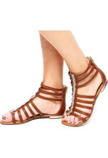 Rasteira Dafiti Shoes Gladiadora Strass Marrom