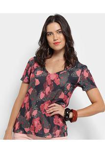 Camiseta Cantão Local Camuface Feminina - Feminino-Preto