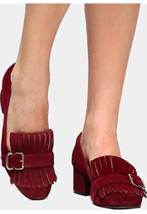 Scarpin Couro Shoestock Salto Médio Franja - Feminino