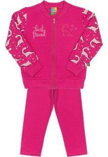 Conjunto Jaqueta E Calça Infantil Moletom Bee Loop Feminino - Feminino-Pink