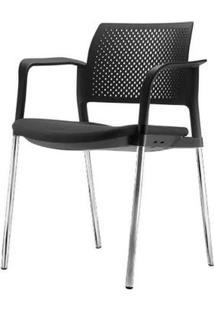 Cadeira Kyos Com Bracos Assento Crepe Estofado Preto Base Cromada - 54783 Sun House