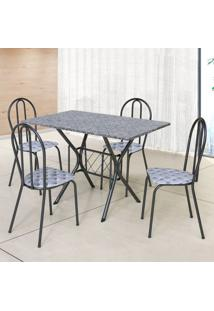 Conjunto De Mesa Com 4 Cadeiras Bruna Craqueado Preto E Estampa Capitonê
