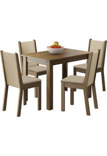 Sala De Jantar Madesa Ketlin E 4 Cadeiras Marrom - Marrom - Dafiti