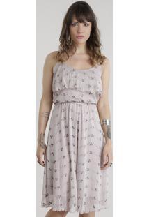 Vestido Em Tule Com Bordado Floral Rosê