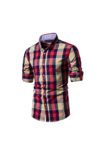 Camisa Xadrez Baytown Masculina - Bege E Vermelho