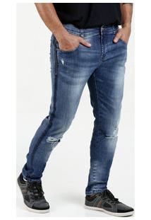 Calça Masculina Jeans Skinny Destroyed Sawary