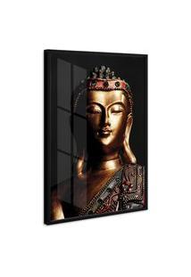 Quadro 90X60Cm Estátua De Buda Moldura Com Vidro Decorativo Interiores - Oppen House