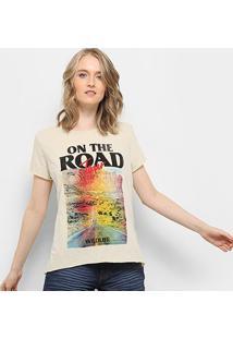 Camiseta Drezzup Estampada Fenda Lateral Feminina - Feminino-Areia