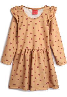 Vestido De Moletom Tricae Infantil Corações Bege/Marrom