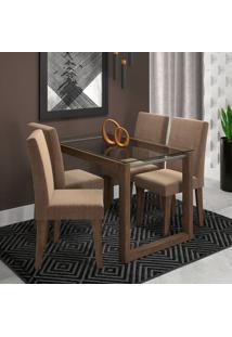 Conjunto De Mesa De Jantar Retangular Anita Com 4 Cadeiras Milena Suede Pluma E Marrocos