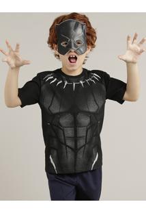 Camiseta Infantil Carnaval Pantera Negra + Máscara Manga Curta Gola Careca Preta