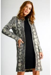 Casaco Longo Wool Line Trench Coat Estampado Feminino - Feminino-Preto+Bege