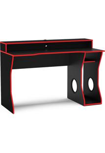 Mesa Para Computador Gamer Fremont-Politorno - Preto / Vermelho