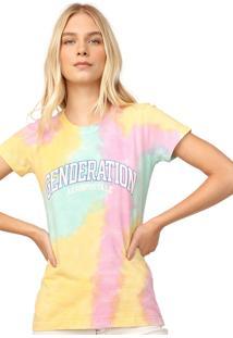 Camiseta Aeropostale Estampada Amarela/Rosa
