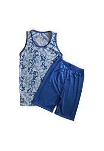 Pijama Grappin Masculino Regata E Short Curto Infantil Juvenil Jeans-E159