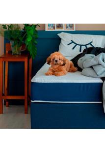 Cama Box Click Solteiro King Com Colchão E Travesseiro Guldi Macio (39X96X203) Azul