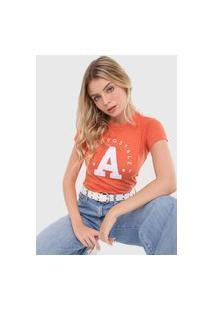 Camiseta Aeropostale Bordado Laranja