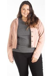 Jaqueta Sarja Color Cropped Feminina Plus Size - Feminino-Rose Gold
