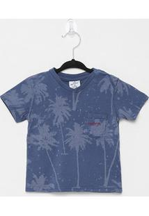 Camiseta Infantil Up Baby Tropical Blur Bolso Masculina - Masculino-Azul