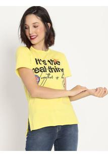 "Camiseta ""It'S The Real Thing""- Amarela & Preta- Coccoca-Cola"