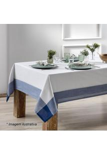 Toalha De Mesa Chamonix- Branca & Azul Escuro- 140X1Sultan