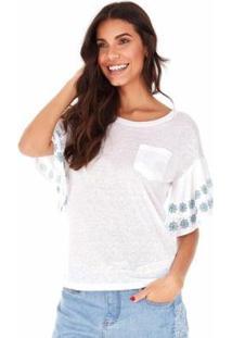 Camiseta Sidewalk Babados Feminina - Feminino-Branco