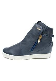 Tênis Sneaker Orcade Em Couro Azul Marinho