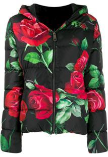 Dolce & Gabbana Jaqueta Matelassê Com Estampa De Rosa - Preto