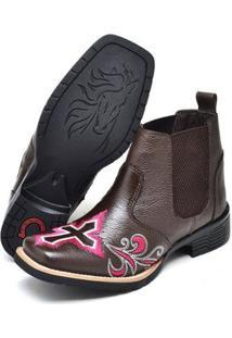 Botina Texana Click Calçados Cano Curto Bico Quadrado Bordado Cruz Feminina - Feminino-Café