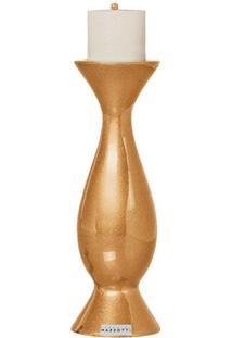 Castiçal M De Cerâmica 31Cm Dourado Mazzotti