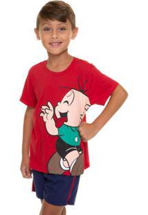 Pijama Infantil Cebolinha Manga Curta Menino Em Algodão
