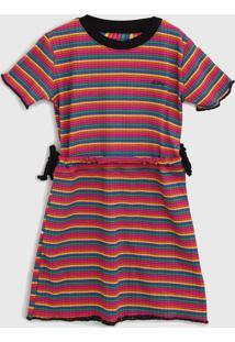 Vestido Ellus Kids Infantil Listrado Rosa/Laranja