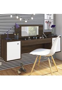 Penteadeira Camarim Suspenso Com Espelho Atração Albatroz Móveis Cedro/Branco