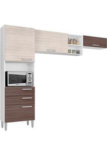 Cozinha Com 4 Portas Natália Amêndoa/Capuccino – Lc Móveis