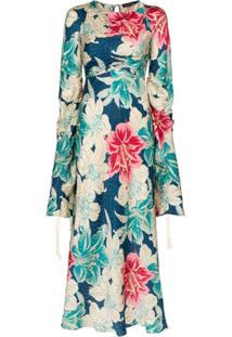 Etro Floral-Print Silk-Jacquard Dress - Azul