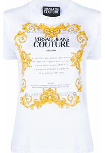 Versace Jeans Couture Camiseta De Algodão Com Estampa Baroque Etichetta - 003 White