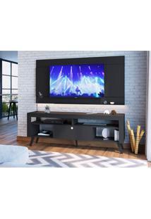 Rack Com Painel Para Tv Até 70 Polegadas Itália Preto 180 Cm