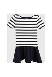Vestido Polo Ralph Lauren Infantil Listrado Off-White/Azul-Marinho