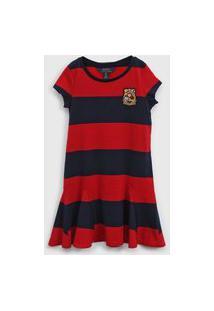 Vestido Polo Ralph Lauren Infantil Listrado Azul-Marinho/Vermelho
