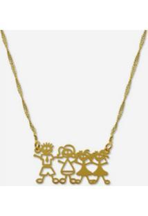 Gargantilha Horus Import Familia Feliz Pai Mae 2 Meninas Banhada Ouro Amarelo