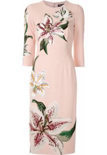 Dolce & Gabbana Vestido Midi Estampa Floral Bordada - Rosa