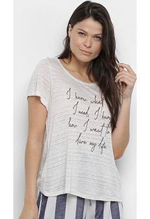 Camiseta Enna Básica Feminina - Feminino-Creme