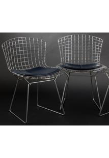Cadeira Bertoia Cromada Couro Café C