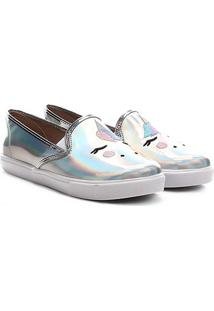 Sapato Infantil Molekinha Metal Glamour - Feminino-Prata