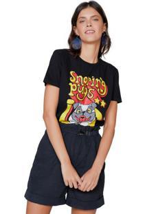 Amaro Feminino T-Shirt Pugs, Preto
