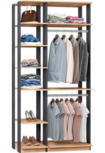 Closet Modulado C/ 2 Cabideiros Clothes 9005 - Be Mobiliário - Carvalho Mel