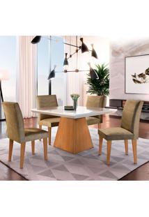 Conjunto De Mesa De Jantar Luna Com 4 Cadeiras Estofadas Grécia Suede Off White E Imbuia